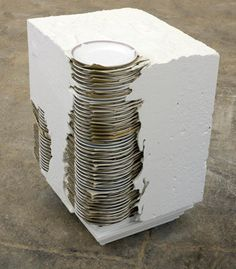 "Theaster Gates - Small Stack, 2011 - White cement, glass, and plates - 15"" x 12"" x 12"""