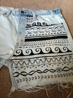 bleached tribal vintage shorts w/ sharpie