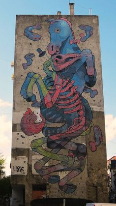 Mixed media mural by Aryz #streetart #urbanart #graphicgift