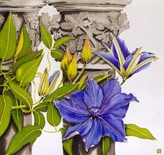 Silk Painting Clematis and Cloisters