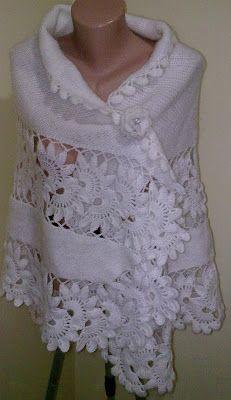 * ♥♥  TRICROCHETANDO  ♥♥ * por Wal Pavão: Um lindo xale branco com gola