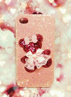 CHRISTMAS Glittering hot pink bear princess fitted case for ALL Samsung models