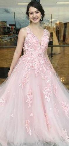 Custom Made Luscious 2019 Prom Dresses Priness Pink Long Prom Dress Party Dress Prom Dresses Pink, Prom Dress, 2019 Prom Dresses, Long Prom Dresses, Custom Prom Dresses Prom Dresses 2019 Prom Dresses Long Pink, Pink Party Dresses, Open Back Prom Dresses, V Neck Prom Dresses, A Line Prom Dresses, Tulle Prom Dress, Beautiful Prom Dresses, Lace Dress, Evening Dresses