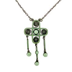 MARIUS HAMMER Arts & Crafts Silver & Enamel Necklace