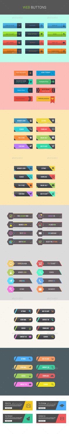 Web Buttons #design #web #elements Download: http://graphicriver.net/item/web-buttons/12650291?ref=ksioks