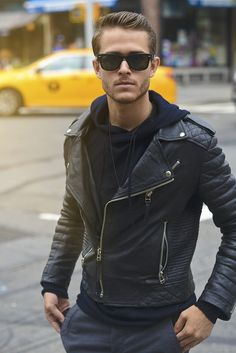 Black biker jacket with hood.