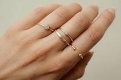 Stacking rings - set of 4 stack rings, simple rings, minimal rings, gold rings