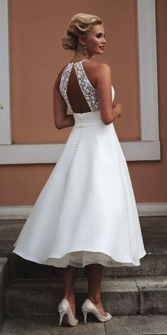 fit and flare wedding dress 24 Gorgeous Tea Length Wedding Dresses tea length wedding dresses open back lace top country true bride Wedding Dress Tea Length, Wedding Robe, Tea Length Dresses, Boho Wedding Dress, Wedding Gowns, Cocktail Wedding Dress, Dresses Dresses, Country Wedding Dresses, Best Wedding Dresses