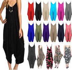 aa7ec0ea2d23f1 Ladies Cami Lagenlook Romper Baggy Harem Playsuit Women Jumpsuit Dress Plus  Size