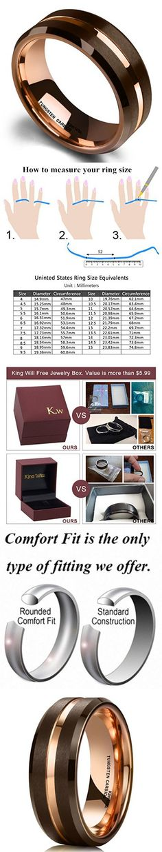 King Will 8mm Brown Tungsten Carbide Wedding Band Ring Rose Gold Inside Groove Beveled Edge Comfort Fit 11