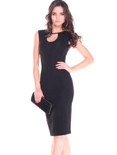 1fc8ed511e7  AdoreWe  StyleWe Midi Dresses❤️Designer Laura Bettini Black Solid Casual  Sleeveless Keyhole Midi Dress - AdoreWe.com