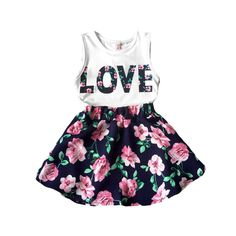 Love Floral Tank Top and Skirt Set for Toddler Girls, 43% discount @ PatPat Mom Baby Shopping App