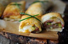 Involtini di sfoglia con zucchine, prosciutto, formaggio, ricetta veloce e sfiziosa, finger food o antipasto in poco tempo, stuzzichino congelabile, sfizioso