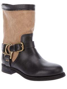Dolce Gabbana leather/cotton canvas biker boot