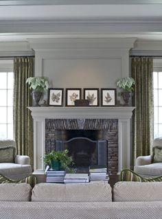 Similar to the living room fireplace at the house were looking into buying. The long curtains on windows beside the fireplace here look great Fireplace Mantle, Fireplace Surrounds, Fireplace Design, Fireplace Molding, Fireplace Stone, Fireplace Ideas, Mantle Ideas, Reface Fireplace, Simple Fireplace
