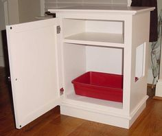 Cat Litter Box / Cabinet w/Shelf except there should be air holes so kitty doesnt get woozy from the ammonia or something. Hidden Litter Boxes, Litter Box Covers, Training A Kitten, Litter Box Enclosure, Old Cabinets, Cat Room, Pet Furniture, Pet Beds, Diy Stuffed Animals