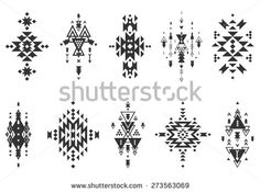 Vector Tribal elements, ethnic collection, aztec stile, tribal art, tribal design  isolated on white background