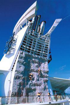 Rock Climbing on Royal Caribbean Cruise Indoor Climbing, Rock Climbing, Climbing Wall, Royal Caribbean International, Royal Caribbean Cruise, Bouldering Gym, Honeymoon Getaways, Disney Ships, Escalade