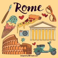 Rome Vectors, Photos and PSD files Voyage Sketchbook, Travel Sketchbook, Voyage Rome, Pizza Art, Memory Album, Roman Soldiers, Travel Party, Travel Illustration, Rome Travel
