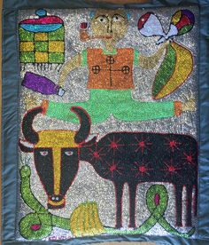 """This is a sequined voodoo flag of """"Zaka, Bossou, Damballa"""" for sale on Nader Haitian Art"""