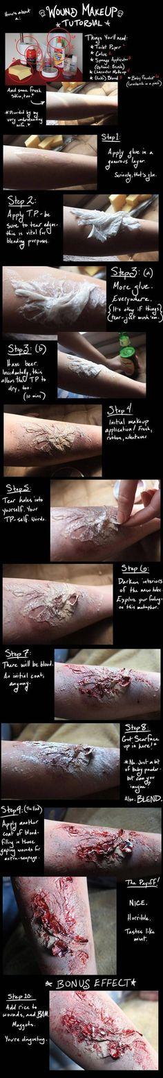 Wound makeup tutorial...I kinda wanna do this...