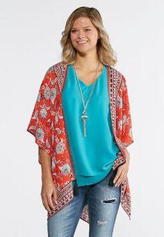 27c987d5727 Cato Fashions Red Floral Paisley Kimono  CatoFashions Cato Fashion Plus Size