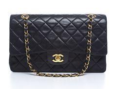 Chanel   Black Lambskin Medium Double Flap Bag