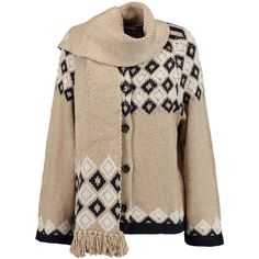 See by Chloé - Intarsia-knit Cardigan (13.855 RUB) ❤ liked on Polyvore featuring tops, cardigans, sand, knit top, fringe tops, brown cardigan, see by chloe top and knit cardigan