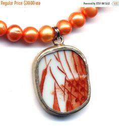 SALE 15% off Necklace with Old Pottery Pendant  by Annaart72