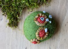 Lichen - felted and stitched stone by Lisa Jordan of lil fish studios