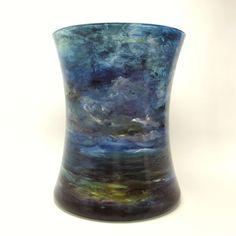 Impressionist Landscape Handpainted Glass Vase