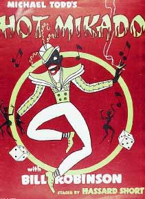 A poster for the 1939 Broadway show The Hot Mikado using blackface imagery