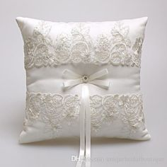 2016 2017 New Wedding Ring Pillows Beige Satin & Lace Ring Bearer Pillows For Wedding Anniversary 21cm*21cm Custom Made From Uniquebridalboutique, $12.82 | Dhgate.Com
