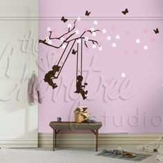 Springtime Branch with Swinging Kiddies Fire Places, Chocolate Brown, Spring Time, Bedroom Decor, Nursery, Purple, House, Home Decor, Fireplace Set