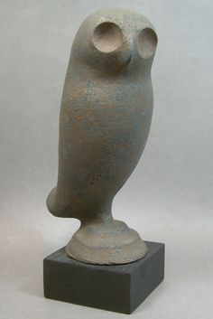 Handcrafted Art Pottery Owl Sculpture Figure Black Brown Signed SEY John Seymour