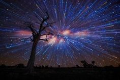 Australian photographer Lincoln Harris collection 'Star trails', surreal swirls in the sky, created from a multitude of long-exposure shots and the effect of the Earth's rotation.