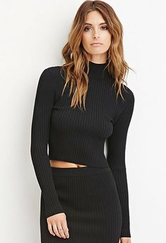 Contemporary Mock Neck Ribbed Top | Forever 21 - 2000145483