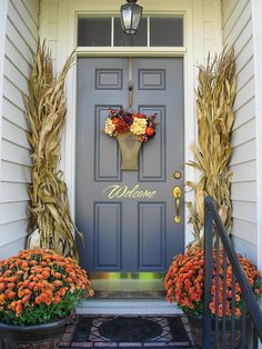 Fall Front Door Decorations Orange Flowers Corn Stalks