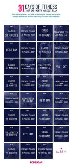 Here's a plan for entire month of workouts: cardio, strength, and flexibility training.