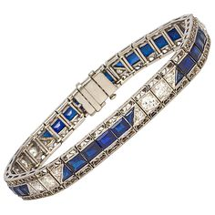 1930s Art Deco Sapphire Diamond Platinum Bracelet | From a unique collection of vintage retro bracelets at https://www.1stdibs.com/jewelry/bracelets/retro-bracelets/