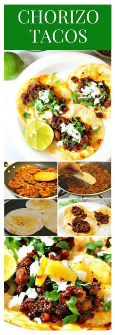 Chorizo tacos │Either way, chorizo tacos are always delicious and easy to make; they're great for those nights when you're in a hurry and craving tacos. #mexicanrecipes #mexicanfood #tacos #mexicancuisine