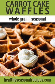 Tasty, Yummy Food, Delicious Recipes, Cake Waffles, Walnut Whip, Whole Wheat Waffles, Whipped Cream Cheese, Eat Seasonal, Breakfast Recipes