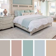 Pastel Cream And Blue Bedroom Color SchemeYou can find Beautiful bedrooms and more on our website.Pastel Cream And Blue Bedroom Color Scheme Blue Bedroom Colors, Bedroom Color Schemes, Room Color Ideas Bedroom, Blue Bedroom Decor, Blue Bedrooms, Small Bedroom Paint Colors, Apartment Color Schemes, French Bedrooms, Paint Schemes