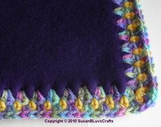 crocheted edging on fleece -- quick way to make a cuddly blanket, instead of the tie blanket method. --This blog post has a video explaining how to do it.