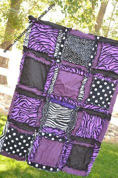 RAG QUILT Purple Black Zebra Girl Rockstar by avisiontoremember