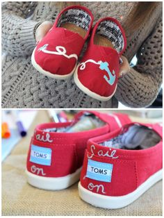 TOMS shoes painted: roped anchor + sail on