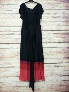 IGIGI maxi dress scoop neck micro pleats black red ombre womens size 26 / 28  #IGIGI #MaxiShift #Casual