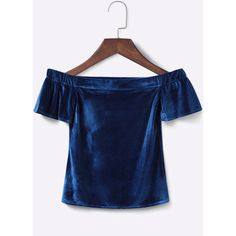 Yoins Velvet Off-the-shoulder Crop Top in Blue ($18) ❤ liked on Polyvore featuring tops, yoins, blue off the shoulder top, short sleeve crop top, blue top, short sleeve tops and blue velvet top