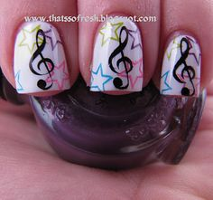 """Star design from and stamped with four different colors! special polishes in Pink & Purple and Sally Hansen Insta-Dri in """"Brisk Blue & Lickety Split Lime"""" and the music note konad special black from over OPI """"Alpine Snow"""" Colorful Nail Designs, Cool Nail Designs, Cute Nails, Pretty Nails, Hair And Nails, My Nails, Rock Star Nails, Music Nails, Instruments"""