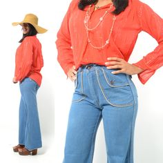 Vintage 70s Super Funky High Waisted Denim Bellbottom Jeans/Jean Pants w/ HUGE Front/back decorated pockets/Chunky Metal Buttons - XS. $32.00, via Etsy.